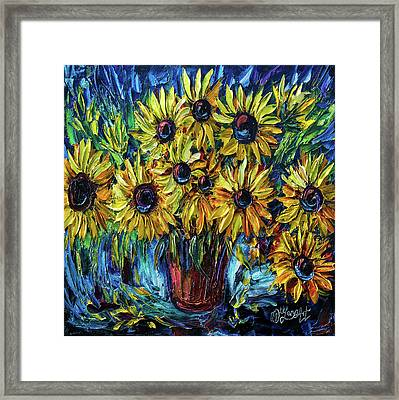 Sunflowers  Palette Knife Framed Print