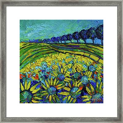 Sunflowers Phantasmagoria Framed Print by Mona Edulesco