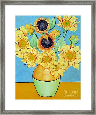 Sunflowers Tribute To Vincent Van Gogh II Framed Print by Christine Belt