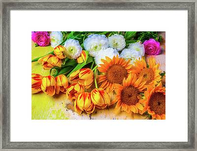 Sunflowers Tulips Framed Print by Garry Gay