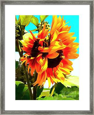 Framed Print featuring the photograph Sunflowers - Twice As Nice by Janine Riley