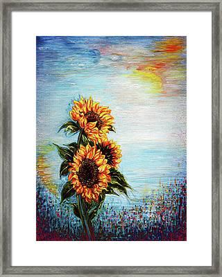 Sunflowers - Where Ocean Meets The Sky Framed Print
