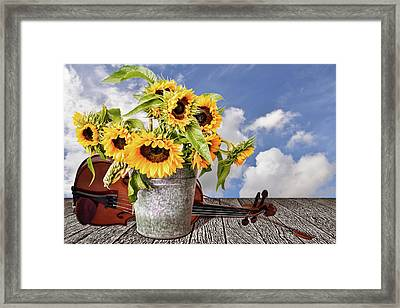 Sunflowers With Violin Framed Print