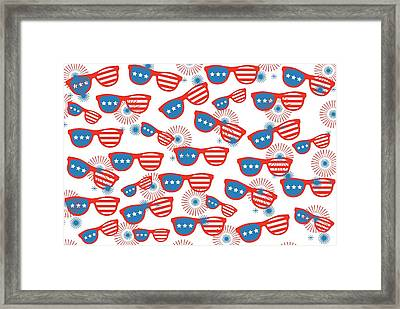 Sunglass Sparklers Celebration  Framed Print by Chastity Hoff