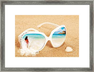 Sunglasses In The Sand Framed Print by Amanda Elwell