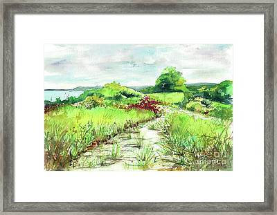 Framed Print featuring the painting Sunken Meadow, September by Susan Herbst
