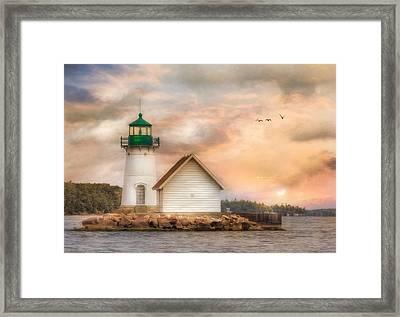 Sunken Rock At Sunrise Framed Print