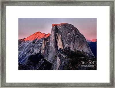 Sunkiss On Half Dome Framed Print