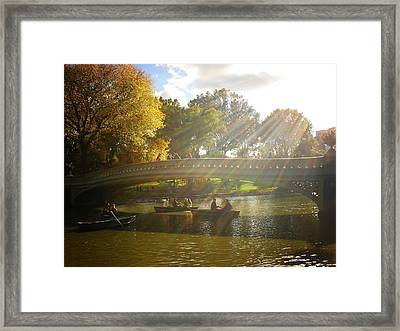 Sunlight And Boats - Central Park -  New York City Framed Print by Vivienne Gucwa