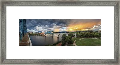 Sunlight And Showers Over Chattanooga Framed Print by Steven Llorca