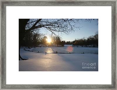 Sunlight On A Frozen Pond  Framed Print