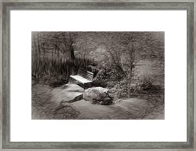 Sunlight On Bench Framed Print by James Barber