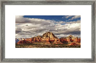 Framed Print featuring the photograph Sunlight On Sedona by James Eddy