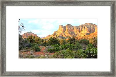 Sunlight On Sedona Rocks Framed Print by Carol Groenen