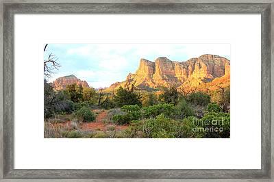 Sunlight On Sedona Rocks Framed Print