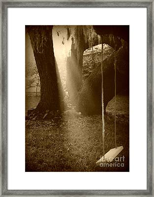 Sunlight On Swing - Sepia Framed Print by Carol Groenen