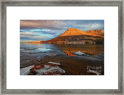 Sunlight On The Flatirons Reservoir Framed Print