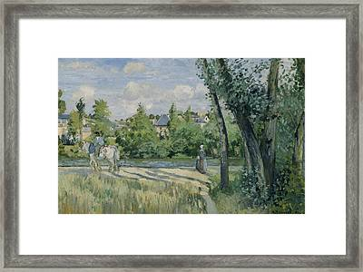 Sunlight On The Road Pontoise Framed Print by Camille Pissarro