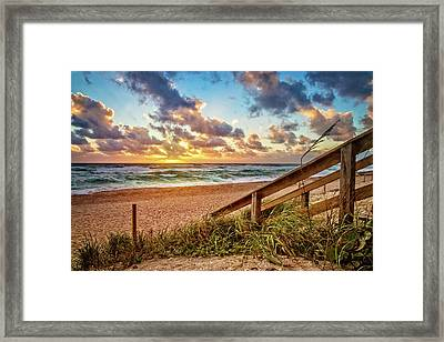 Framed Print featuring the photograph Sunlight On The Sand by Debra and Dave Vanderlaan