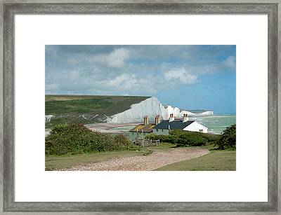Sunlight On The Seven Sisters Framed Print by Donald Davis