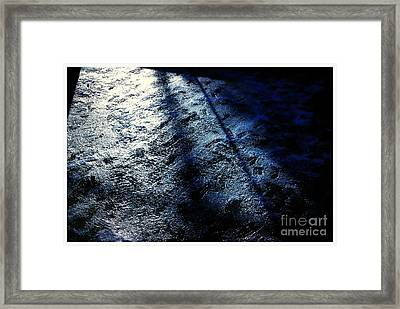 Sunlight Shadows On Ice - Abstract Framed Print