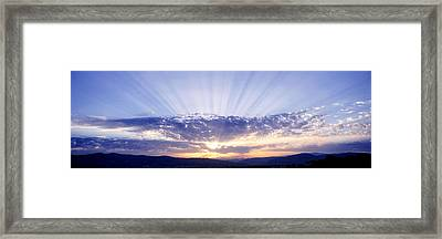 Sunlight Through Clouds Tuscany Italy Framed Print