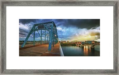 Sunlight Thru Rain Over Chattanooga Framed Print