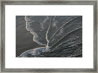 Sunlit Beach Wave Framed Print by Mike Coverdale