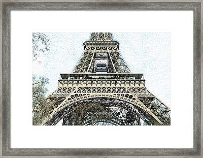 Sunlit Eiffel Tower First And Second Floors Paris France Colored Pencil Digital Art Framed Print