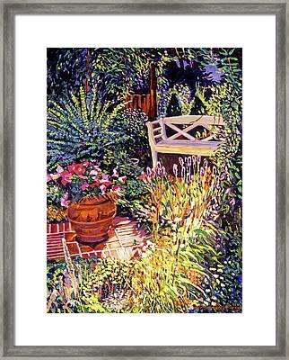 Sunlit Garden Patio Framed Print by David Lloyd Glover