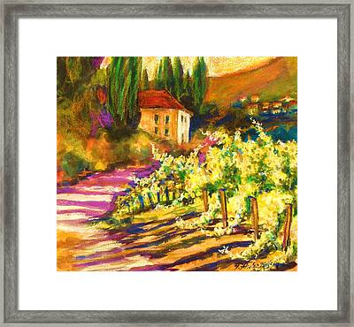 Sunlit Grapevines  Sold Framed Print by Therese Fowler-Bailey