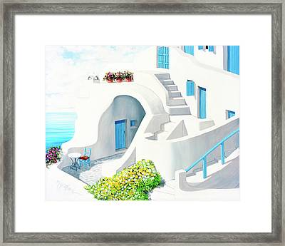 Sunlit In Santorini - Prints Of My Original Oil Painting Framed Print