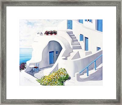 Sunlit In Santorini - Prints Of Original Oil Painting Framed Print by Mary Grden Fine Art Oil Painter Baywood Gallery