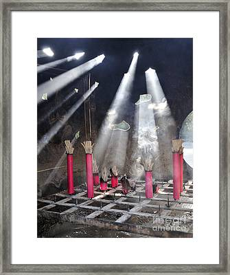 Sunlit Incense Framed Print by Andy Smy