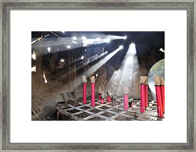Sunlit Incense Urn Framed Print by Andy Smy