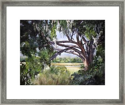 Framed Print featuring the painting Sunlit Marsh by Mary McCullah