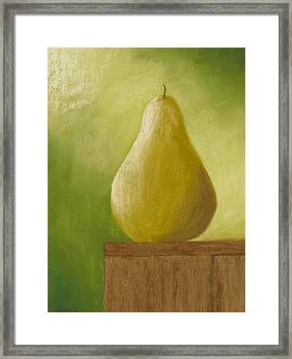 Sunlit Pear Framed Print by Cheryl Albert
