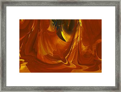 Framed Print featuring the digital art Sunlit Red Cavern Abstract by rd Erickson
