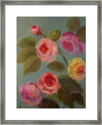 Sunlit Roses Framed Print