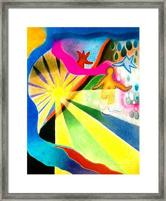 Framed Print featuring the pastel Sunlit Runner by Christine Perry