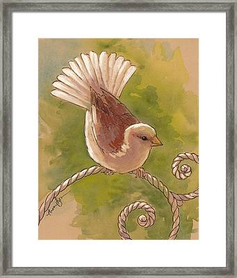 Sunlit Sparrow Framed Print by Tracie Thompson