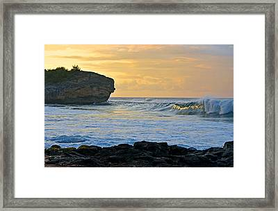 Sunlit Waves - Kauai Dawn Framed Print by Marie Hicks
