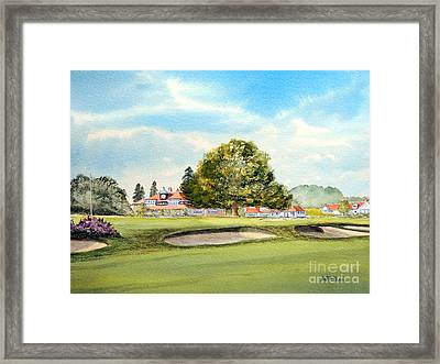 Framed Print featuring the painting Sunningdale Golf Course 18th Green by Bill Holkham