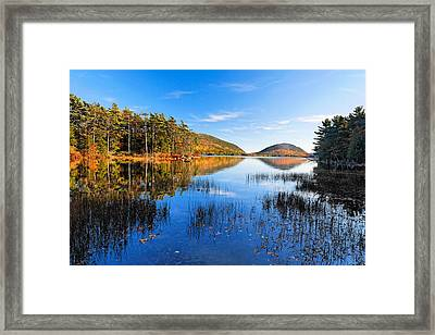 Sunny Autumn Day At Eagle Lake  Framed Print by George Oze
