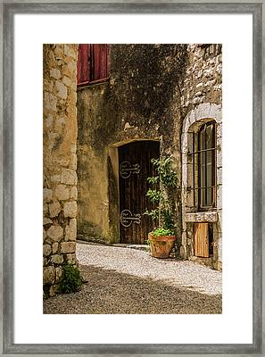 Sunny Back Alley, St Paul De Vence, France. Framed Print