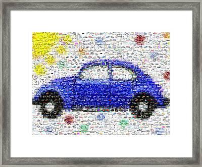 Sunny Blue Vw Bug Mosaic Framed Print by Paul Van Scott