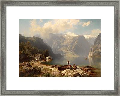 Sunny Day At A Norwegian Fjord Framed Print by Mountain Dreams