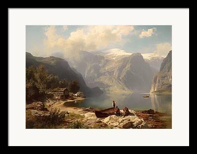 Norwegian Boathouses Framed Prints