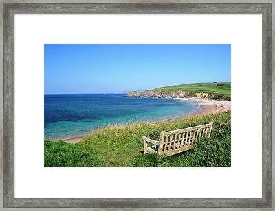 Sunny Day At Thurlestone Beach Framed Print by Photo by Andrew Boxall