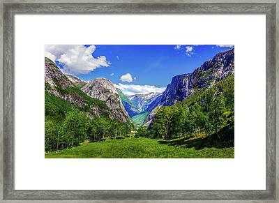 Framed Print featuring the photograph Sunny Day In Naroydalen Valley by Dmytro Korol